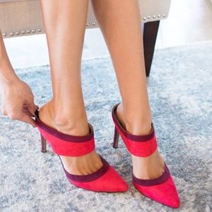 Express | colorblock red seude mules with heels